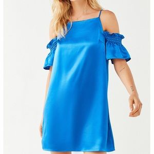 NWT Urban Outfitters Satin Cold Shoulder Dress